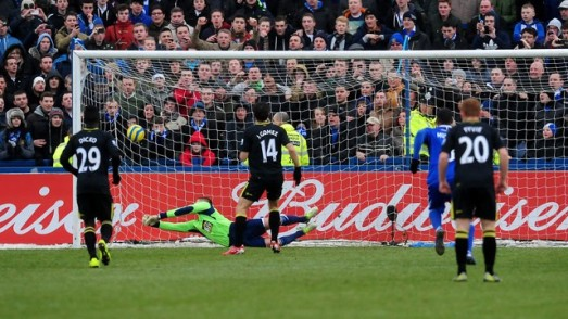 Jordi Gomez puts Wigan 1-0 up.